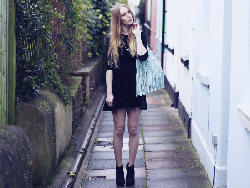 brighton fashion blogger, topshop black sparkly dress, brand village blue fringed bag, orelia stackable rings, marks & spencer tights, boohoo black boots.