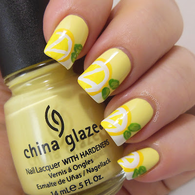 french manicure with lemons