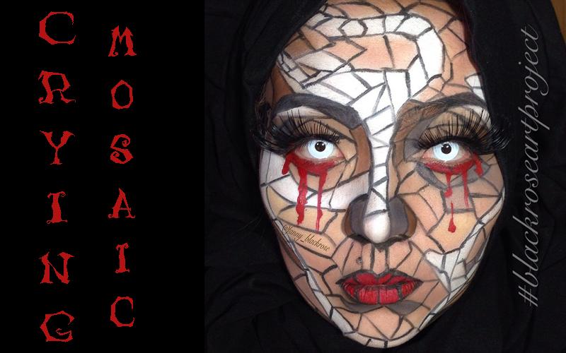 crying mosaic halloween makeup idee instagram