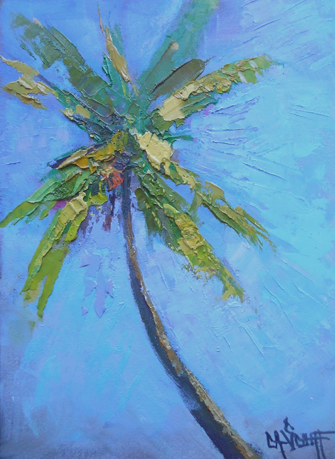 Carol schiff daily painting studio palm tree painting for Painting palm trees