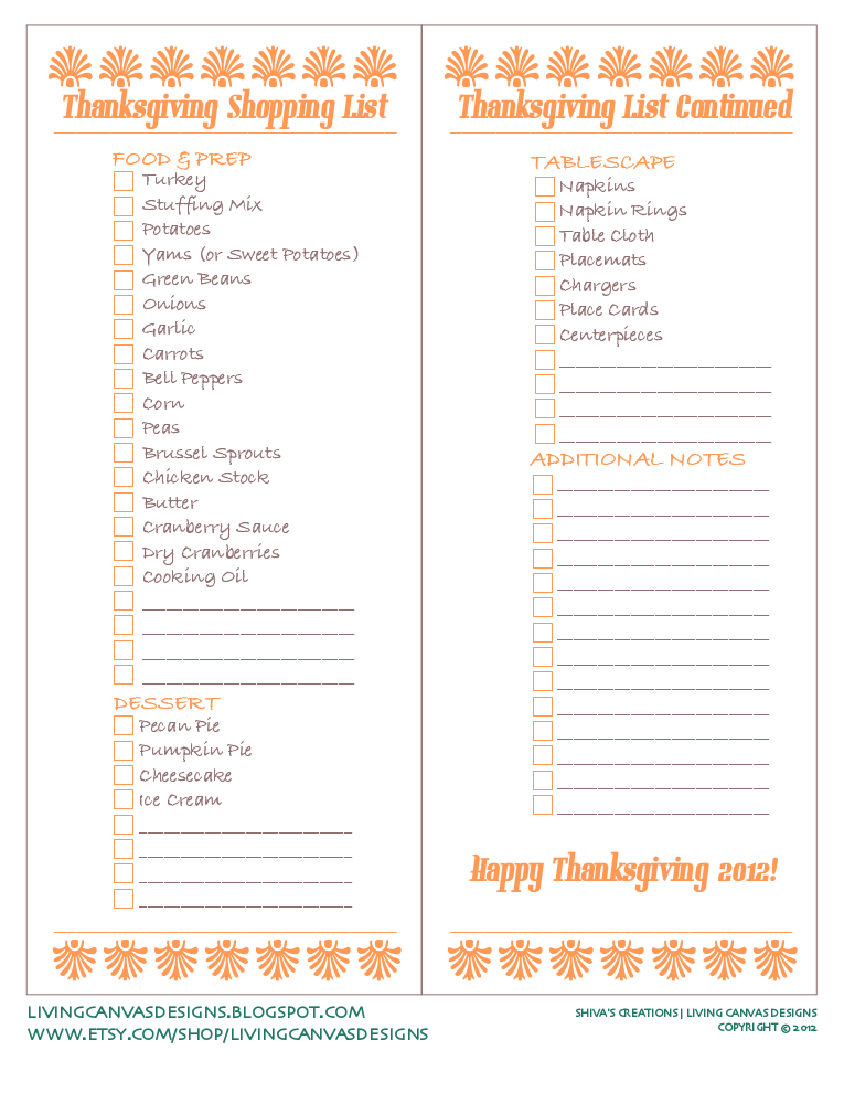 Shopping List Template Thanksgiving Dinner Pictures