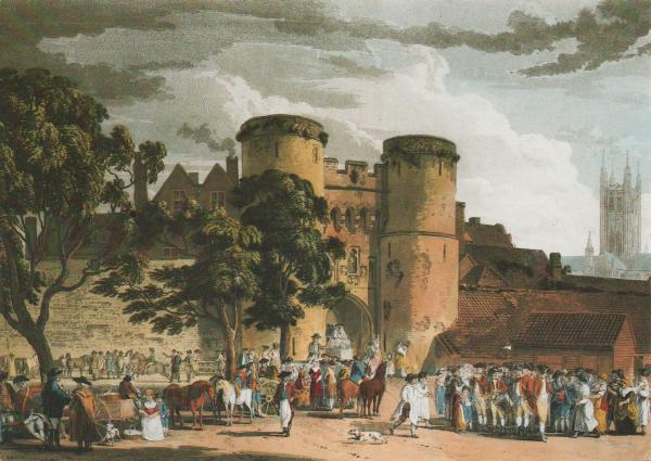 old city gate painting