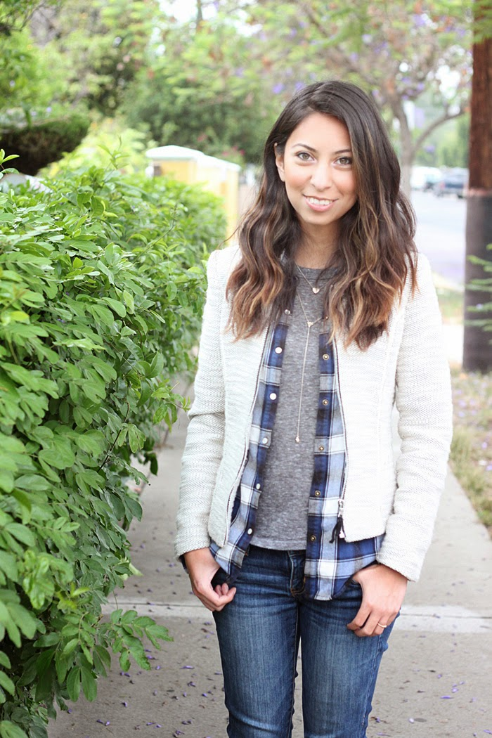 tweed blazer and plaid shirt