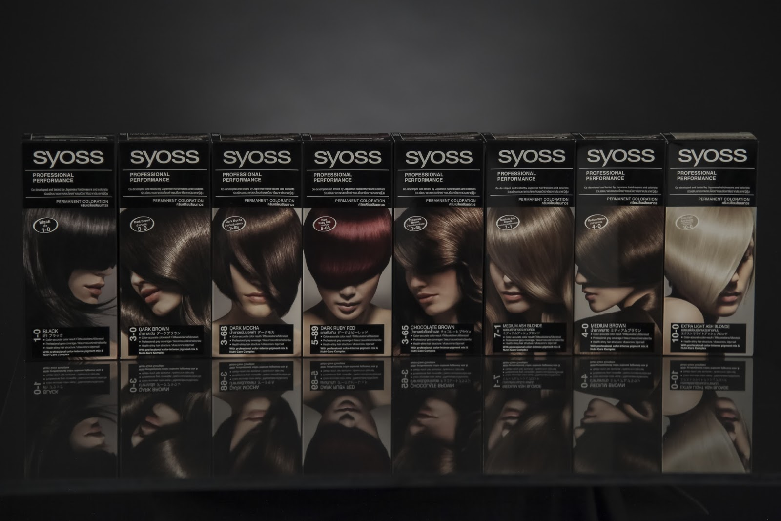 the syoss hair coloration range is composed of the following shades black dark brown chocolate brown dark mocha medium brown dark ruby red - Syoss Coloration
