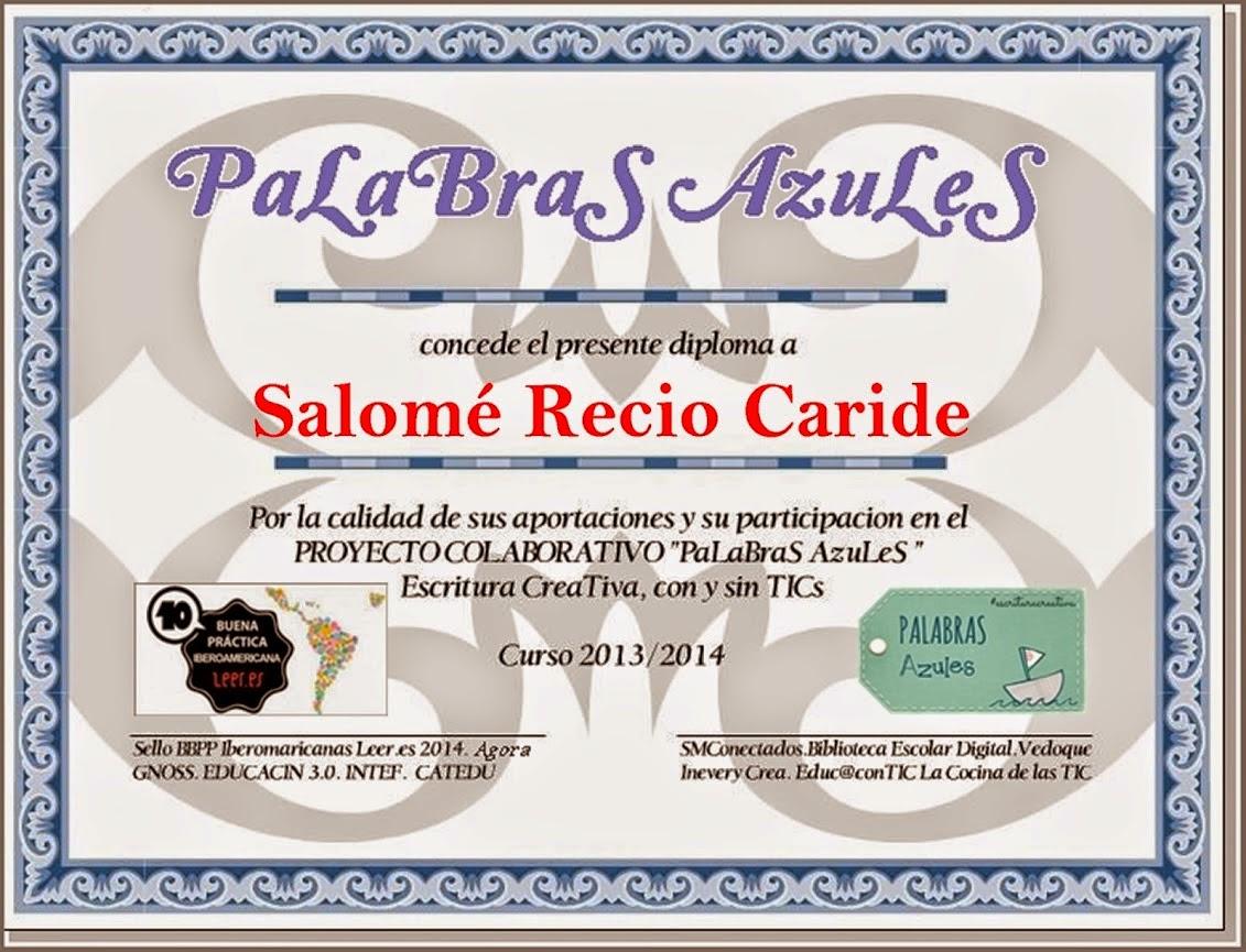 Diploma Palabras Azules 2013-2014