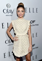Modern Family star Sarah Hyland in lace vintage style dress with flesh flashing cut-outs at the ELLE's 2016 Women in Television Dinner red carpet dresses