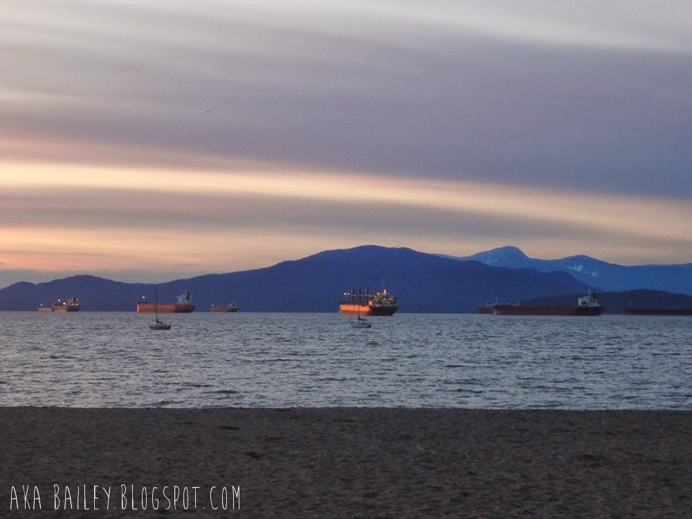 Sunset in English Bay in Vancouver, ships