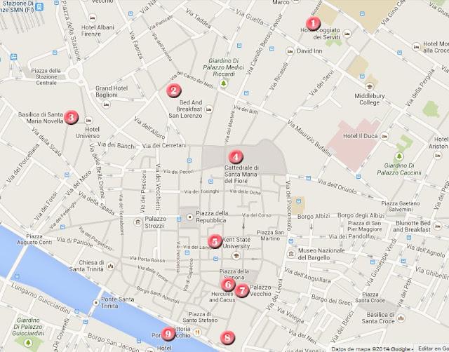 Mapa ruta por Florencia, día 1