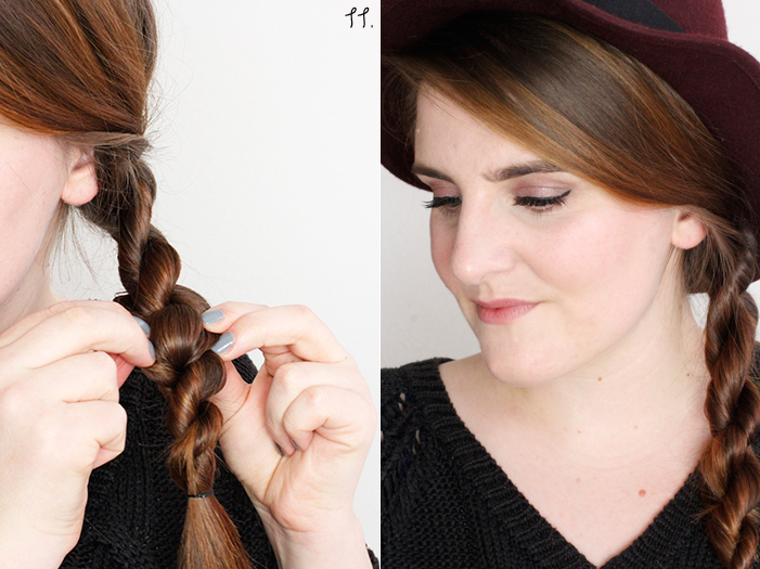 Hair Tutorial Cord Plait Step 11, 12
