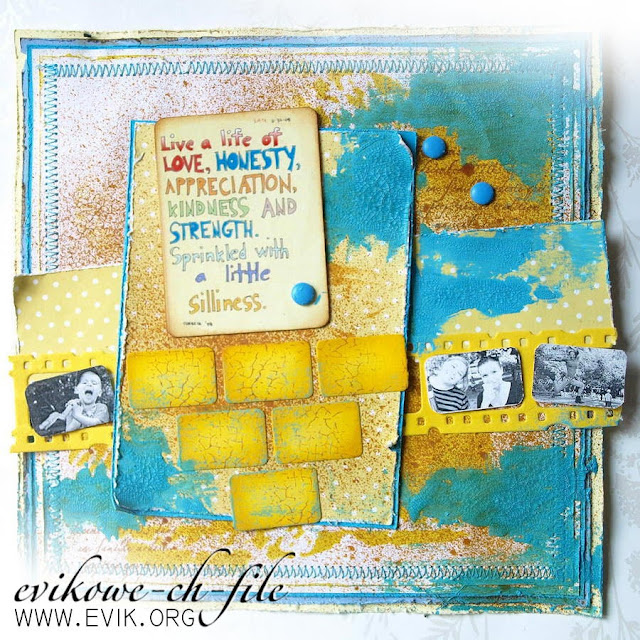 Sizzix - Tim Holtz Filmstrip Frames - żółty i turkus, crackle paint