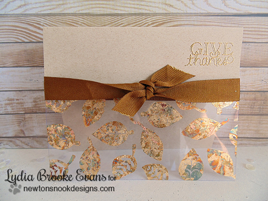 Give Thanks Gold Leaf card by Lydia Brooke for Newton's Nook Designs | Falling into Autumn Stamp Set