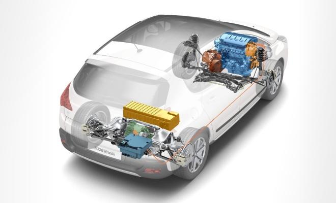 Cutaway drawing of Peugeot diesel hybrid