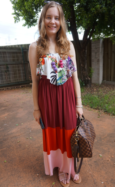 Colourful Summer Outfit Asos Colour Block Maxi Skirt Atmos&Here Cami LV Speedy B 30