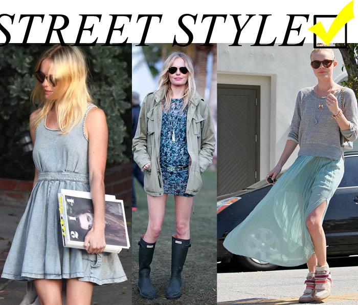 A GAROTA DOS OLHOS COLORIDOS_olhos de duas cores_Kate Bosworth_street style_vestido jeans_saia comprida_cor menta_sneakers