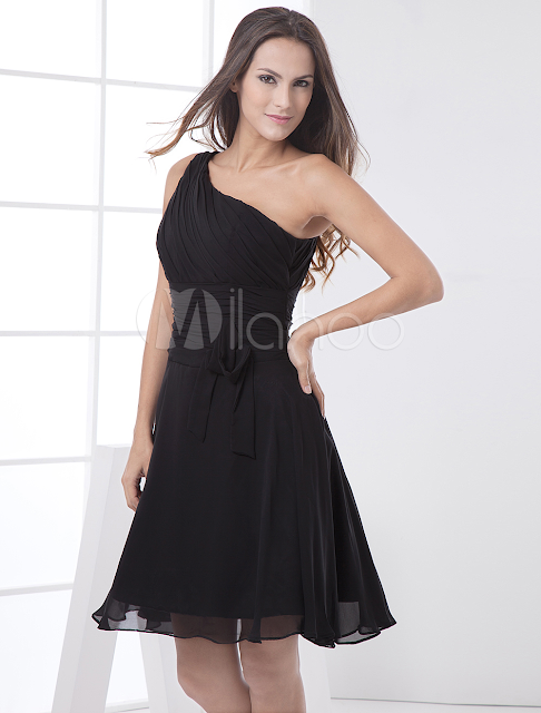 China Wholesale Clothes - Modern Black One Shoulder Chiffon A-line Womens Homecoming Dress