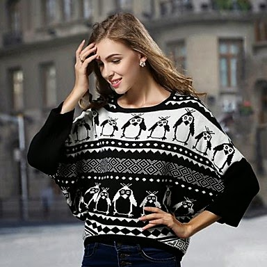 ladies black and white penguin abstract sweater
