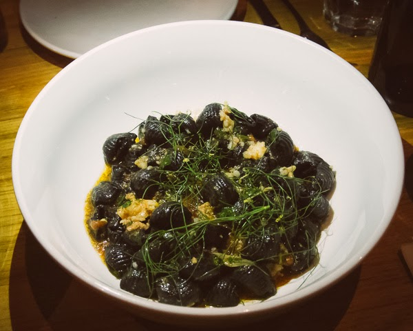 Squid Ink Pasta at  Rolf and Daughters restaurant in Nashville Tennessee