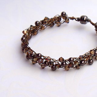 Swarovski Crystal Bronze and Brown Pearl Braidlet by CrochetHooked