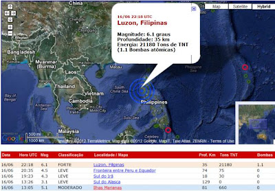 Epicentro terremoto en Luzon, Filipinas, 16 de Junio 2012