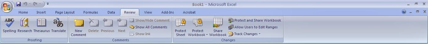 Tutorial Excel 2007 : Fungsi Menu Review