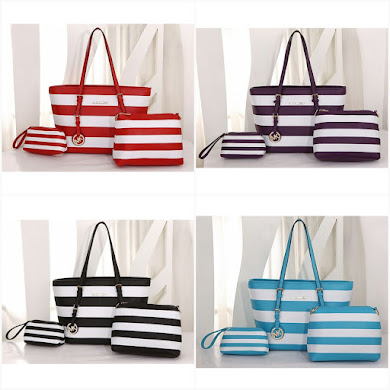 MICHAEL KORS BAG ( 3 IN 1 SET ) - BLACK , PURPLE , RED , TURQOUISE