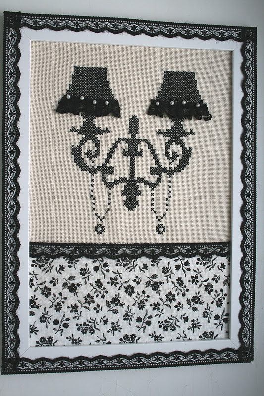 Черными нитками на белой канве вышивка крестом