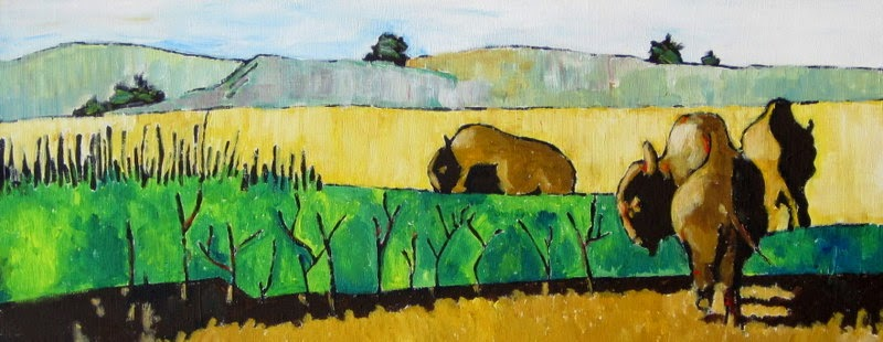 contemporary landscape with buffalo by bruce docker