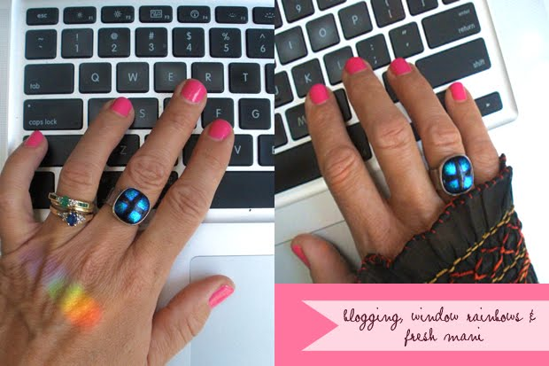 blogging hands on a Mac keyboard with OPI elephantastic pink and fused glass ring