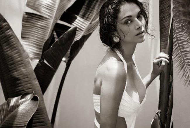 Aditi Rao Hydari in white bra bikini cleavage exposed