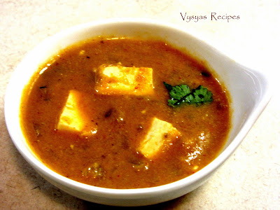 paneer korma - simple  paneer kurma - indian paneer recipes - side dish for chapathi dosa rice roti