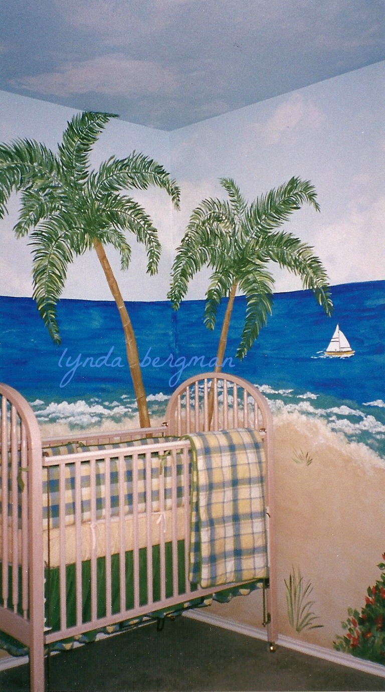 Lynda bergman decorative artisan painting a beach scene for Beach mural painting