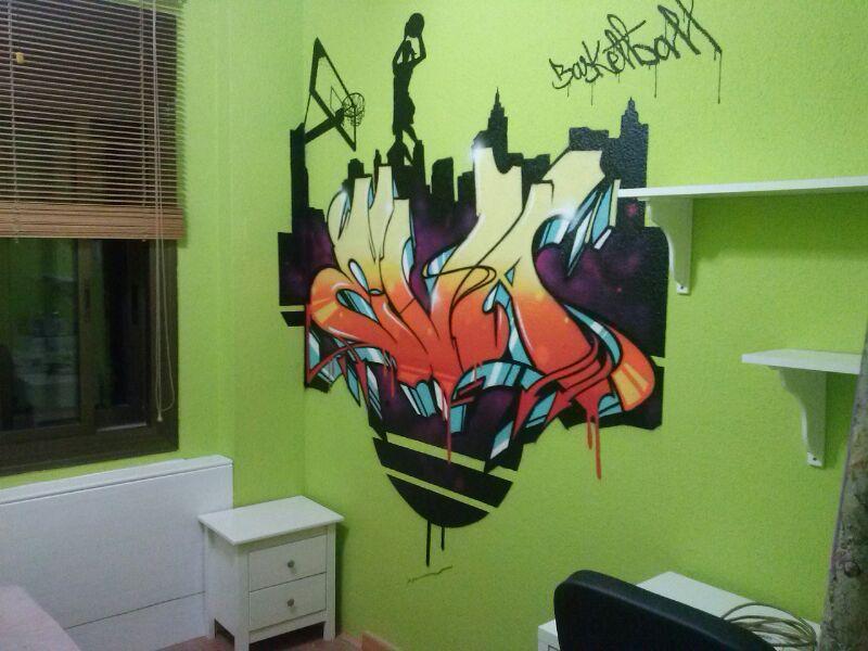 Berok graffiti mural profesional en barcelona habitaci n - Habitaciones con graffitis ...