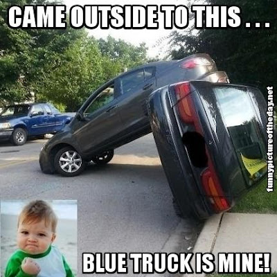 Came Outside To This Yes Kid Meme Blue Truck Is Mine Funny Accident