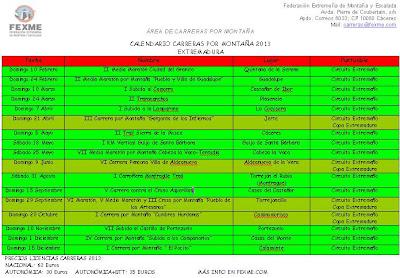 Calendario de carreras por montaña 2013 en Extremadura FEXME