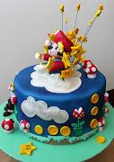 Tarta Super Mario BrosSuper Mario Bros exploding cake
