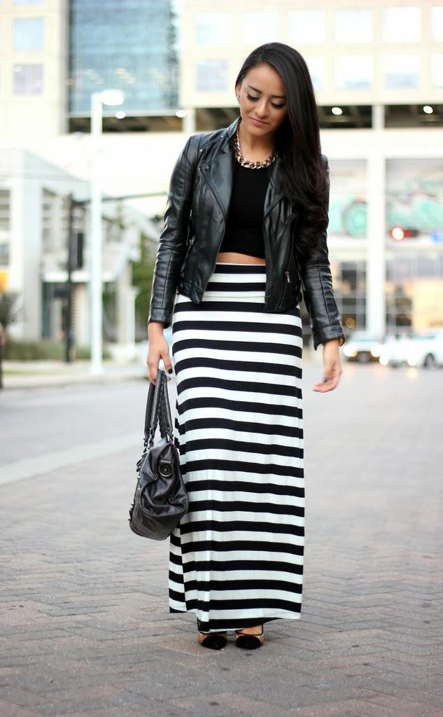 maytedoll leather jacket striped maxi skirt