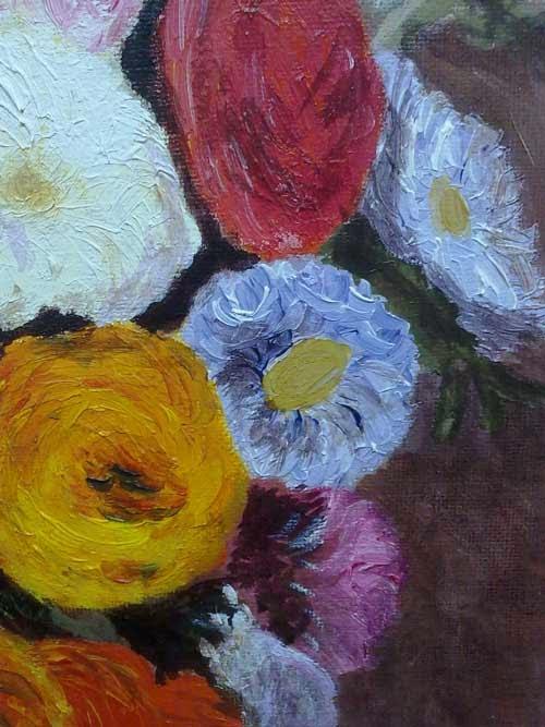 detalle de la copia de unas flores de renoir