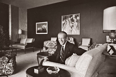 Fred Astaire built his Beverly Hills residence in 1959, and the living room featured comfortable modern upholstered furniture and contemporary art.