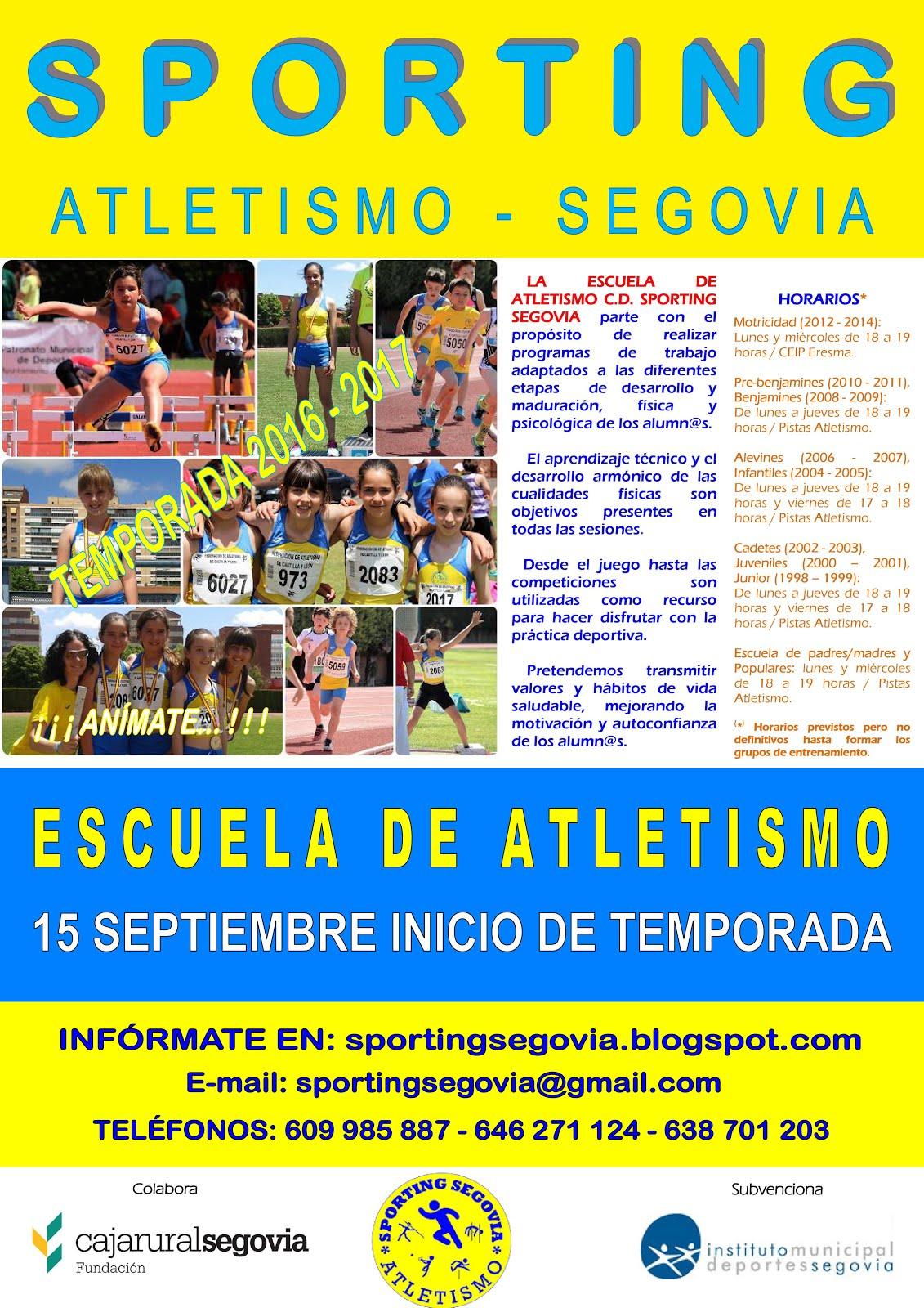 INSCRIPCIÓN 2016/2017. INICIO DE TEMPORADA EL 15 DE SEPTIEMBRE