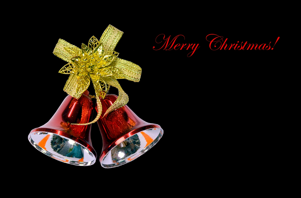 Tone Bell Wallpapers Christmas bells on black background wallpaper