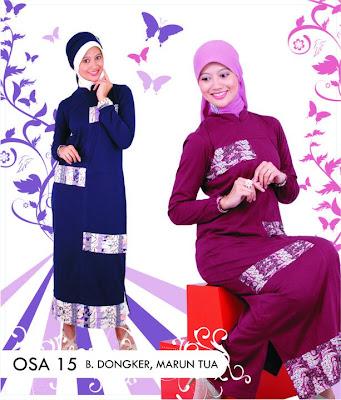 Katalog Fashion Osmoes Pakaian Wanita Muslim Biru Dongker Maroon Tua