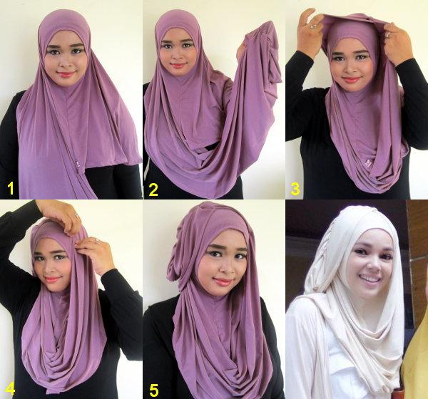 Cara Memakai Jilbab Hanna Instan Pashmina