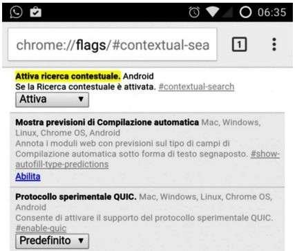 ripristinare ricerca contestuale con flags chome per android