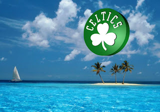 Boston Celtics Fans Wallpapers Rotated Logo in Blue Island background