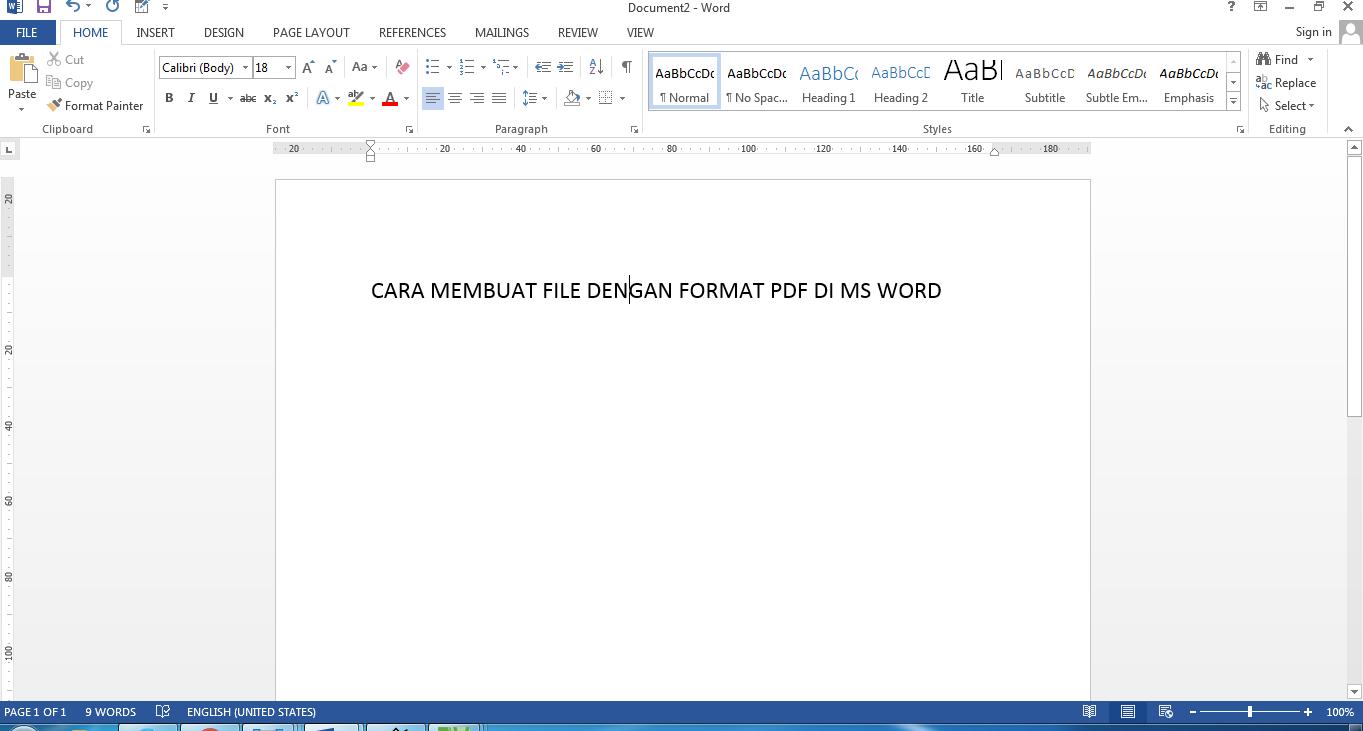 Cara membuat file format PDF di ms word ~ BELAJAR MENGETIK