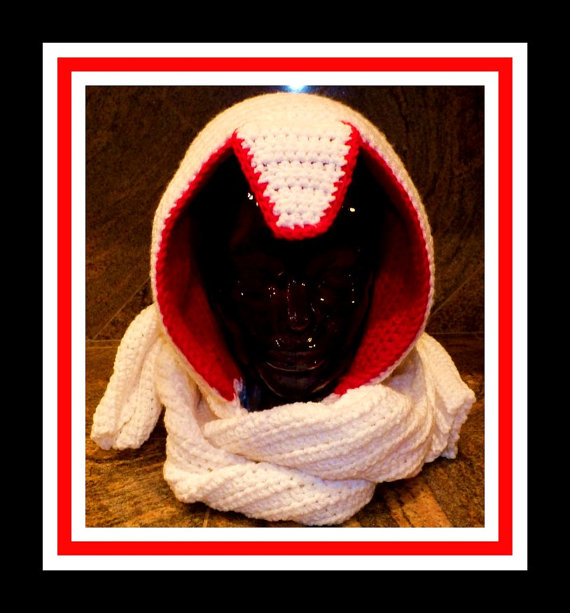 Assassin's Creed Inspired Crochet Scarf Hoodie Pattern© By Connie Hughes Designs©