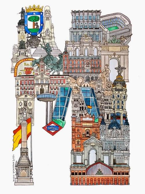 13-M-Madrid-Spain-Hugo-Yoshikawa-Illustrated-Architectural-Alphabet-City-Typography-www-designstack-co