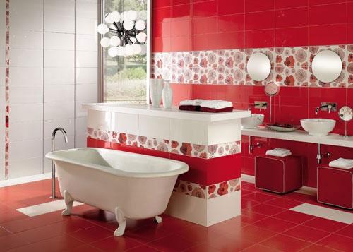 Baño De Color Rojo Fuego:Red Bathroom Tiles Idea