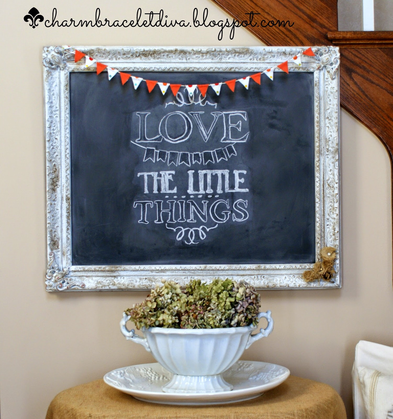 Love the Little Things quote on vintage frame chalkboard with mini bunting