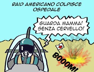 Afghanistan, raid aereo, USA, satira vignetta